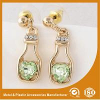 Wholesale Fashion Gold Jewelry Hanging Metal Earrings Stud Wedding Shining Crystal Earrings from china suppliers