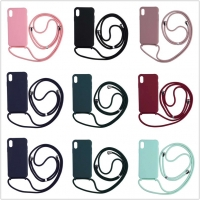 Buy cheap Neck Lanyard Nylon Rope Strap Shockproof Phone Cases For Iphone 6 7 8 11 12 Pro Max Liquid Silicone Material from wholesalers