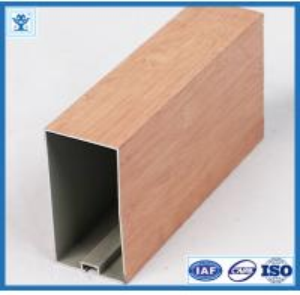 China Wood finish aluminum powder coated profile for architectural aluminium profile on sale