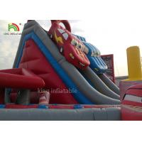 Buy cheap Red Car Cartoon Inflatable Dry Slide Double Lanes For Boys / Kids Outdoor Playground from wholesalers
