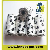 Wholesale Red color plain PE bags dog poop waste bag on roll and plastic bone shape dispenser from china suppliers