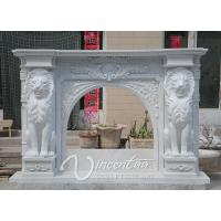 Hand Carved Natural White Marble Fireplace Mantel with Lion Statues and Flower Carvings Manufactures