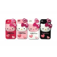 Wholesale 3D Silicon Cell Phone Protective Cases With Cute Hello Kitty Style For iPhone4 / iPhone5 from china suppliers