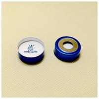 Wholesale 20mm crimp-top blue magnetic aluminum cap, 10mm centre hole/nature PTFE/nature Silicone septa from china suppliers