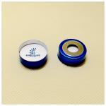 20mm crimp-top blue magnetic aluminum cap, 10mm centre hole/nature PTFE/nature Silicone septa Manufactures