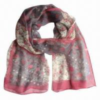 Buy cheap Photographic Floral Silk Square Scarf, Made of Silk from wholesalers