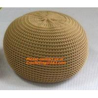 Buy cheap hand made orange, white, black, color crochet knit pouf crochet knit Ottoman Floor Cushion from wholesalers