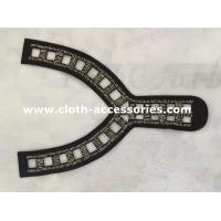 Wholesale Y Shape Black  Beaded Neck Trim 25CM × 15CM for Wide Shoulder Dress from china suppliers