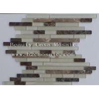 Wholesale Strip Dark Emperador Mix Glass Mosaic Tile Canada Hit from china suppliers