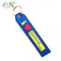 Buy cheap Fashionable Custom Fabric Keyrings , Blue Bottom Rectangle Woven Key Tag from wholesalers
