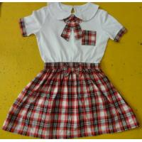 Wholesale 100% Cotton Checked Girls School Uniform Dresses , Summer Kids Uniform Dress from china suppliers