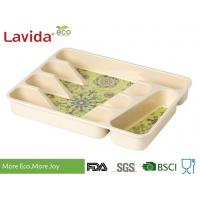 Buy cheap Dishwasher Safe Eco Bamboo Fiber Tray Plant Fibre Flatware tray Kitchen Tool case Melamine Utensil Box for home from wholesalers