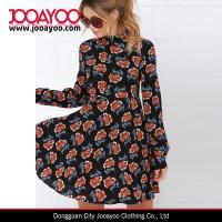 Buy cheap 2016 Spring Dress Girls Customized Black Long Sleeves Floral Print Midi Dress from wholesalers