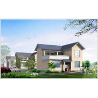 2 Story Light Steel Prefabricated Woden house , White Prefab Steel House For Living