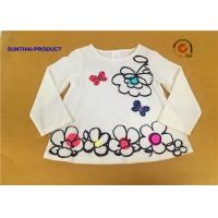 Buy cheap Big Floral Print Children T Shirt Butterfly Applique Embroidery Long Sleeve 100% Cotton from wholesalers