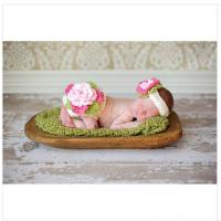 Wholesale handmade big flower baby hat cap Photography Prop cotton Crochet headwear Costume flower from china suppliers