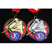 Wholesale Baseball 3D Effect Metal Sports Award Medals Antique Gold / Silver Plating from china suppliers