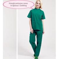 Buy cheap Stand Collar Scrubs Medical Uniforms , Short Sleeve Cotton Green Surgical Gown from wholesalers