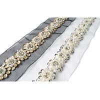 Buy cheap Beaded Crystal Pearls Rhinestone Lace Ribbon Trim Braided Applique Scrapbooking Craft Sewing Supplies for Wedding Dress from wholesalers