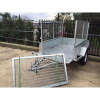 Buy cheap Hot Dipped Galvanized Tandem Cattle Trailer With Cage Flat Top 8 X 5 from wholesalers