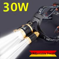 30W 3*CREE T6 LEDS Adjustable Focus Zoom LED Headlamp 3000Lm Yellow/White Light Rechargeable LED Headlight for Hunt,Fish Manufactures