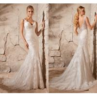 Buy cheap White Mermaid Lace Deep V Neck Wedding Dresses with Open Back , Covered Button from wholesalers