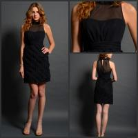 Black High Neck Illusion Neckline Prom Dress Sleeveless for women Manufactures