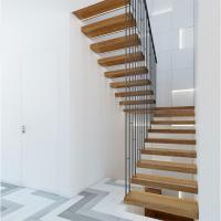 Wholesale High quality indoor floating solid wood tread open stairs/staircases from china suppliers