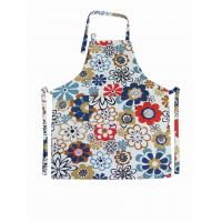 Buy cheap Flower Printed Halter Strap Cotton Kitchen Apron Households Products 250gsm from wholesalers