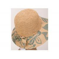 China 12cm Raffia Cloth Brim Womens Sun Hats For Adults For Leisure , 57cm Natural Sun Hats on sale
