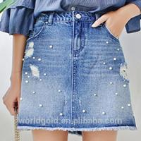 Buy cheap Custom Women A LINE Damaged Denim Skirt With Pearls And Frayed Hem from wholesalers