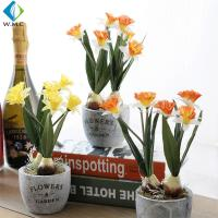 Wholesale Silk Artificial Green Plants , Artificial Mini Daffodils For Desk Decoration from china suppliers