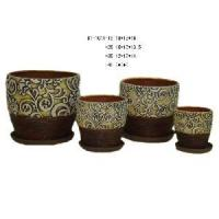 Buy cheap Ceramic Flower Pot Cover With Saucer (D1-9074A) from wholesalers