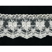 Buy cheap 100 Cotton Lace Fabric For Dressmaking / Double Edged Scalloped Lace Trim from wholesalers