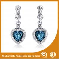 Wholesale Trendy Unique Diamond Metal Earrings Jewellery With Blue Crystal from china suppliers