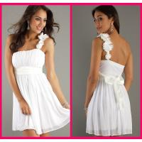 One Shoulder Homecoming Dress Short White Chiffon Sashes Cocktail Gowns Manufactures