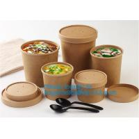 Buy cheap Eco Friendly Disposable takeaway food container Kraft Paper noodle bowls Hot Soup Cup With Paper Flat Lid bagease packag from wholesalers
