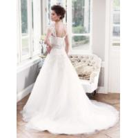 China 2014 Latest A-Line Lace/Tulle Train Hotel Bridal Wedding Dress Manufactures