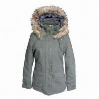 Buy cheap 100% Cotton Women's Winter Jacket with Detachable Hood from wholesalers