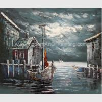 Buy cheap Abstract Houses Boat Dock Canvas Wall Art Paintings For Living Room from wholesalers