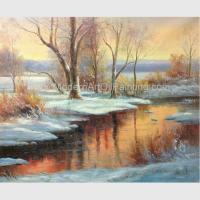 Buy cheap Classical Winter Snow Handmade Scenery Oil Painting for Home Decorative from wholesalers