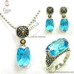 Buy cheap New design Vintage 14K gold Jaisalmer Dot Brass Oval cushion Aquamarine CZ Jewelry Set from wholesalers