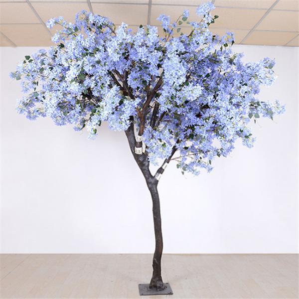 Quality Soft Artificial Flower Tree Jacaranda Wood Bule Color Sakura Tree Branch for sale