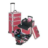 Wholesale Female Portable Beauty Trolley Pink Makeup Organizer Case With Trays from china suppliers