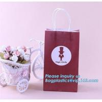 Buy cheap Luxury fashion customized ribbon handle black white gift paper shopping bag,Grey Rope Handled Wine glass Carrier bag wit from wholesalers