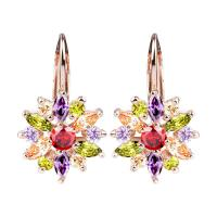 18K Colorful Rose Gold Cubic Zirconia Earrings , Cubic Zirconia Drop Earrings