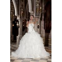Wholesale Gorgeous Strapless Sweetheart Princess White Organza Wedding Bridal Gown With Beads from china suppliers