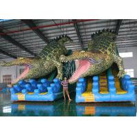 Buy cheap Giant Crocodile Inflatable Dry Slides Custom Shark PVC Double Lane Bouncer Slides product