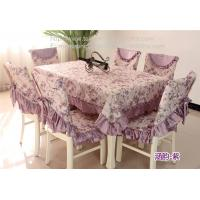 China Purple floral tablecloths and chair covers with satin borders, on sale