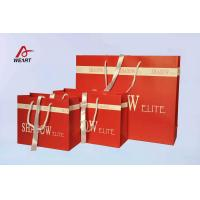 Buy cheap Red Art Paper Bags / Colored Paper Gift Bags Middle Hole Glued White Ribbon​ from wholesalers